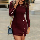 Womens Long Sleeve Bodycon Knitted Mini Dress Ladies Casual Club Sweater Dress