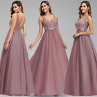 Ever-Pretty Elegant Lace V Neck Long Bridesmaid Dresses A Line Wedding Ball Gown