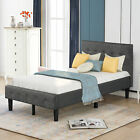 Twin/Full/Queen/King Size Platform Bed Frame w/Tufted Headboard Upholstered Wood