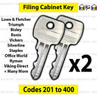 2x Filing Cabinet Key Cut to Code 201-400 Fits Triumph, Bisley Vickers Ronis L £2.9 GBP on eBay