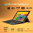 """Microsoft Surface 3 Tablet 10.8"""" Quad Core Win10 MSOffice 4G LTE ANY CARRIER"""