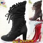 Women Steampunk Gothic Retro Punk Boots Lace Up Mid-heel Shoes Knee High Boots