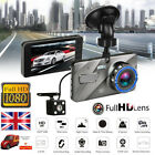 4'' HD 1080P Dual Lens Car DVR Front and Rear Camera Video Dash Cam Recorder 170