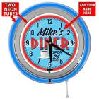 Retro Diner Drive In 15 Inch Double Neon Wall Clock From Redeye Laserworks