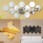 12x Vinyl Removable Hexagon 3d Mirror Wall Decor Stickers Home Living Room Decal