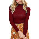 Women Turtleneck Sweaters Short Solid Sweaters Tops Winter Knitted Pullovers New