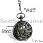 Mens Antique Lucky Dragon & Phoenix Retro Skeleton Dial Mechanical Pocket Watch