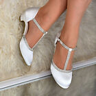 Women Satin Low Heel Shoes Ankle T-Strap Diamante Bridal Wedding Evening Sandals