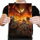 Dungeons and Dragons Archer and Swordsman Fire Battle Poster Print