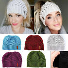Kyпить Lady Beanie Tail Messy Soft Bun Hat Ponytail Stretchy Knit Crochet Skull Caps US на еВаy.соm