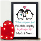 PERSONALISED Christmas Gifts for Her Girlfriend Wife Him Penguin Couple Gifts