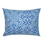 Scandinavian Lace Blue Watercolor Pillow Sham by Roostery image