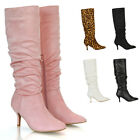 New Womens Knee High Boots Ladies Low Mid Heels Pointy Rouched Zip Size 3-8