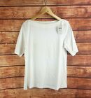 New J Jill Women's White Perfect Pima Elbow Sleeve Boat Neck Tee - All Sizes