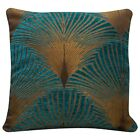 Art Deco Fan Cushion. Luxury Velvet Chenille. Gold & Teal Blue Geometric Design.
