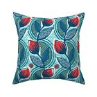 Retro Tulip Large Scale Mod Throw Pillow Cover w Optional Insert by Roostery