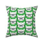 Cat Nerd Green Cats With Throw Pillow Cover w Optional Insert by Roostery