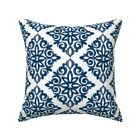 Modern Navy And White French Throw Pillow Cover w Optional Insert by Roostery