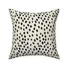Abstract Dots Black On Cream Throw Pillow Cover w Optional Insert by Roostery