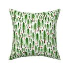 Christmas Tree Trees Watercolor Throw Pillow Cover w Optional Insert by Roostery