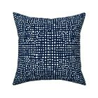 Grid Weave Navy Blue Dark Throw Pillow Cover w Optional Insert by Roostery