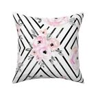 Boho Geometric Floral Pink And Throw Pillow Cover w Optional Insert by Roostery