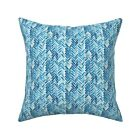 Blue Watercolor Herringbone Throw Pillow Cover w Optional Insert by Roostery