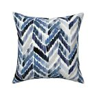 Boho Watercolor Chevron Blue Throw Pillow Cover w Optional Insert by Roostery
