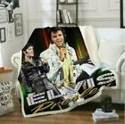 New Singer Elvis Presley 3D Print Sherpa Blanket Sofa Couch Quilt Cover Throw