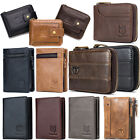 Mens Wallet Genuine Leather Zip Around RFID Bifold Card Purse for Christmas Gift image