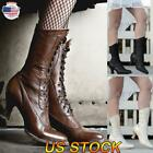 US Retro Women Mid-Calf Leather Boots Rustic Booties Steampunk Lace Up High Heel
