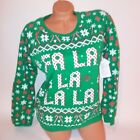 Light Up Christmas Sweater Green Red White On Off Button Long Sleeve