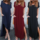 Women Casual V Neck Short Sleeve Loose Pocket Solid Maxi Dress Side Split Summer