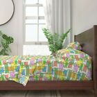 Bamboo Tiki Tropical Retro Cartoon 100% Cotton Sateen Sheet Set by Roostery image