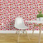 Removable Water-Activated Wallpaper Summer Strawberries Watercolor Strawberry