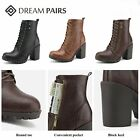 DREAM PAIRS Women's Round Toe Ladies Stacked Heel Lace Up Zipper Ankle  Boots