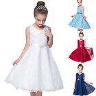 Kids Flower Girls Party Lace Long Dress Wedding Bridesmaid Prom Formal Dress