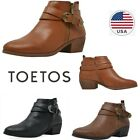 TOETOS Womens Ankle Boots Low Chunky Stacked Heel Side Zipper Riding Boots