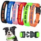 Personalized Dog Collar Custom Name ID Tag Embroidered Adjustable Nylon XS S M L