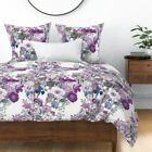 Lilac Wildflowers Purple Lavender Floral Flowers Sateen Duvet Cover by Roostery image