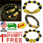 Feng Shui Black Obsidian Alloy Wealth Golden Pixiu Bracelet Lucky Jewelry 6style