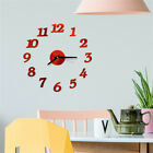 Modern Large Wall Clock 3D Mirror Sticker Unique Number Watch DIY Decor LIU