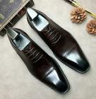 Mens Bridegroom Wedding Pointy Toe Oxfords Real Leather Business Leisure Shoes
