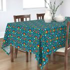 Tablecloth Floral Flowers Spring Colorful Mod Retro Swedish Cotton Sateen
