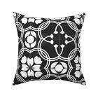 Spanish Tiles Black White Tile Throw Pillow Cover w Optional Insert by Roostery