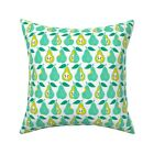 Pear Summer Fruit Mint And Throw Pillow Cover w Optional Insert by Roostery