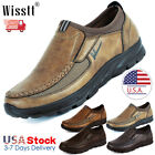 Mens Slip On Leather Casual Driving Loafers Moccasin Comfy Flats Work Shoes Size