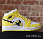 Nike Air Jordan 1 Mid SE GS Floral Yellow Rose White Black AV5174-700 Size