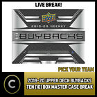 2019-20 UPPER DECK BUYBACKS HOCKEY 10 BOX CASE BREAK #H625 - PICK YOUR TEAM $71.0 CAD on eBay