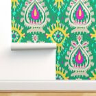 Wallpaper Roll Green & Ikat Abstract Emerald Tribal 24in x 27ft